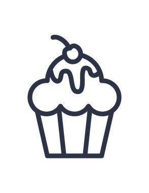 Vector illustration of delicious cupcake icon icon