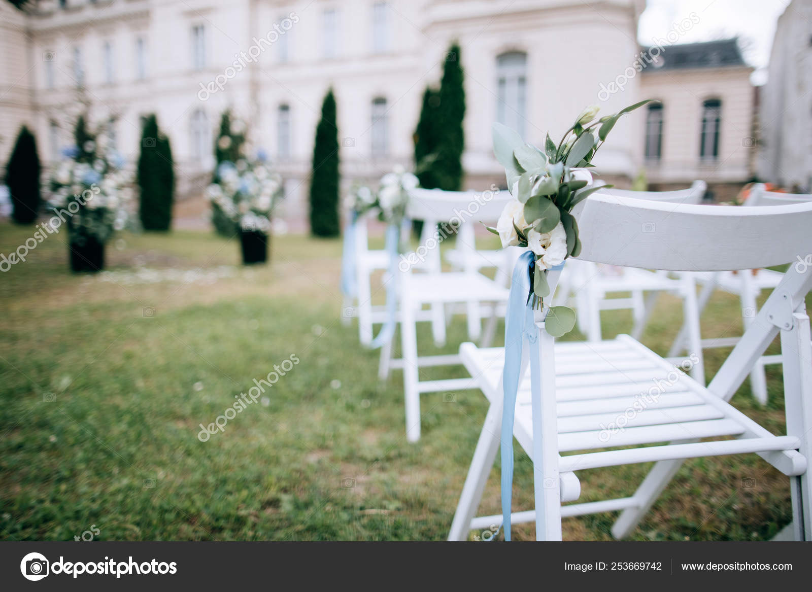 Flower Decorations White Chairs Wedding Ceremony Outdoors Stock Photo C Beorm 253669742