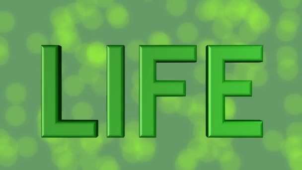 For life banner, green 3d letters, quality stars on green background with blurry bokeh lights, symbol 4life