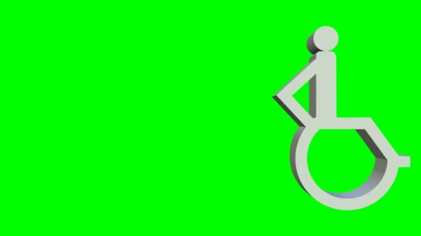 Animierter Rollstuhl-Symbol, 3d animierte auf green-Screen Rollstuhl-Piktogramm