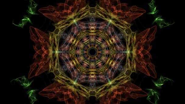 Multicolored fractal in tunnel motion, abstract video in orange, red and yellow, nice symmetric shape, live fractal