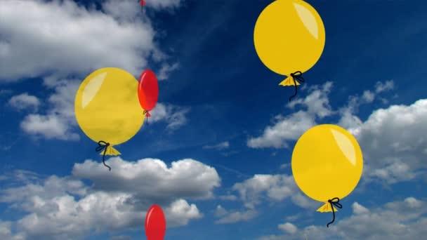 Aviatic bubliny v jasných barvách. Vzduchové bubliny na modré obloze s krásné bílé mraky, animace na fotografické pozadí