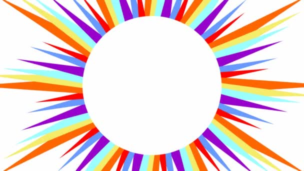 Sun with multicolored wavy rays on white background, video background with copy-space,