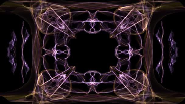 ungewöhnlicher Fraktalrahmen, animierter Rand für eigene Botschaft, orangefarbene und lila Kurven auf schwarzem Hintergrund.