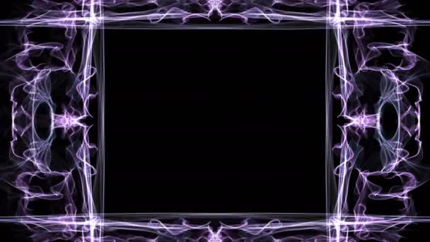 Szokatlan fraktál keret, animált határ saját üzenetet, lila görbék, a fekete háttér