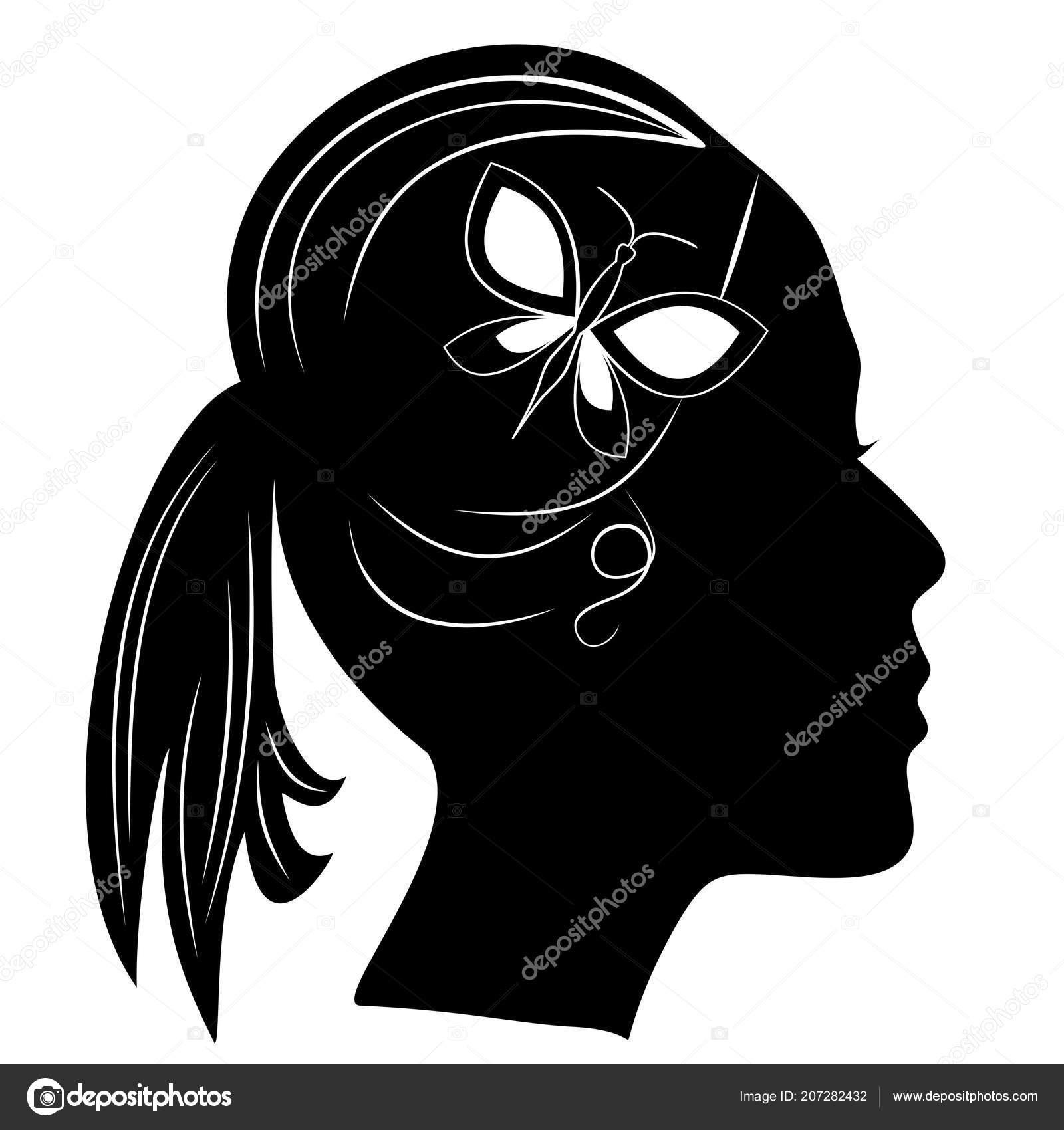 Sylwetka Głowę Dziewczyny Fryzura Kucyk Czarna Kobieta Profil Motyl