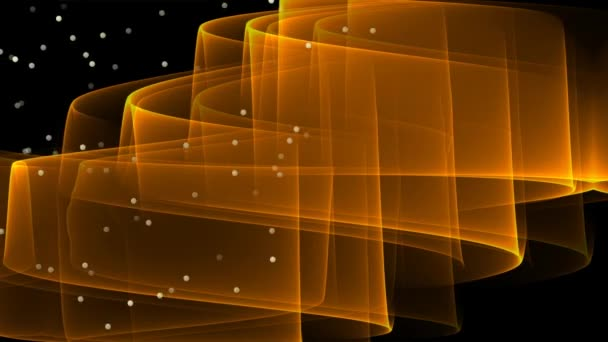 Abstract video with orange wavy transparent element and flying glittering  particles  Modern fantasy futuristic movie on black background