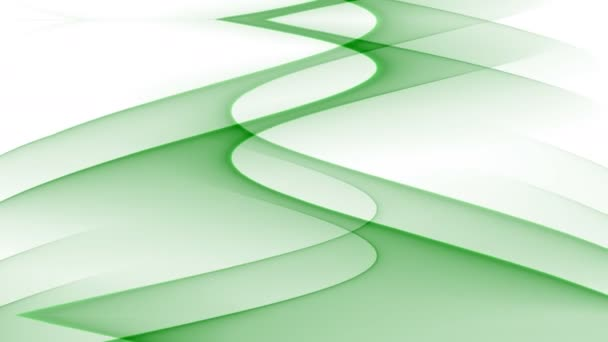 Abstract video bakcground with green wavy curves on white background, upward movement, seamless loop