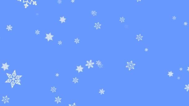 Hópehely részecskék a fény kék háttér. Repülő hó a téli háttér. Gyönyörű animáció sport propagáláshoz téli, karácsonyi dekoráció.