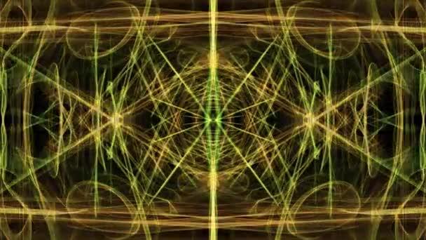 Nádherná měkká ornament v tunelu pohybu. Zelená magie světla fraktální vzory na černém pozadí. Živá mandala pro duchovní termíny.