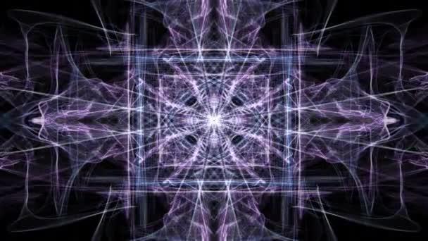 Abstraktní vzory Nachový fraktát na černém pozadí. Krystalického animovaný ornament v tunelu pohybu, krásné dekorace.