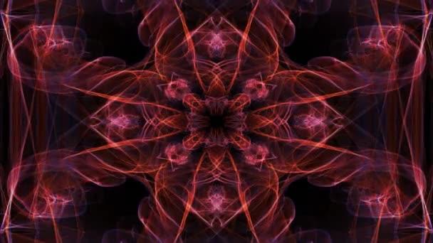 Živé fraktální vzory, video tunel na černém pozadí. Meditační mandala ve zlatě. Animovaný symetrický ornament na duchovní a medition cvičení