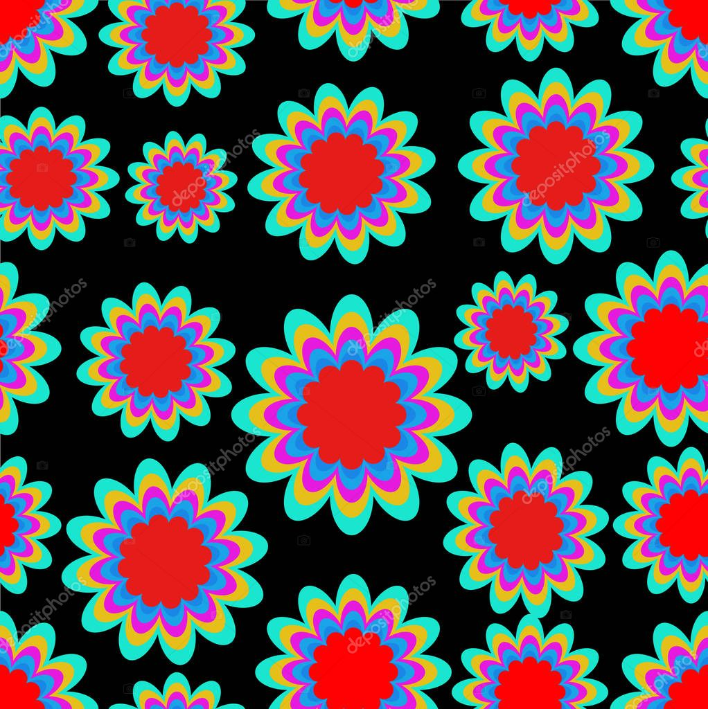 Seamless patterns with fantasy flower in psychedelic vivid colors on black background. High contrasting ornament,