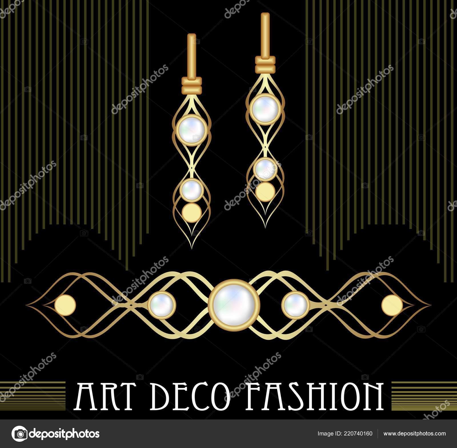 99f285d49754 Conjunto de joyas Art deco oro. Pendientes y broche con perlas costosas. Nice  joyería victoriana– Ilustración de Stock