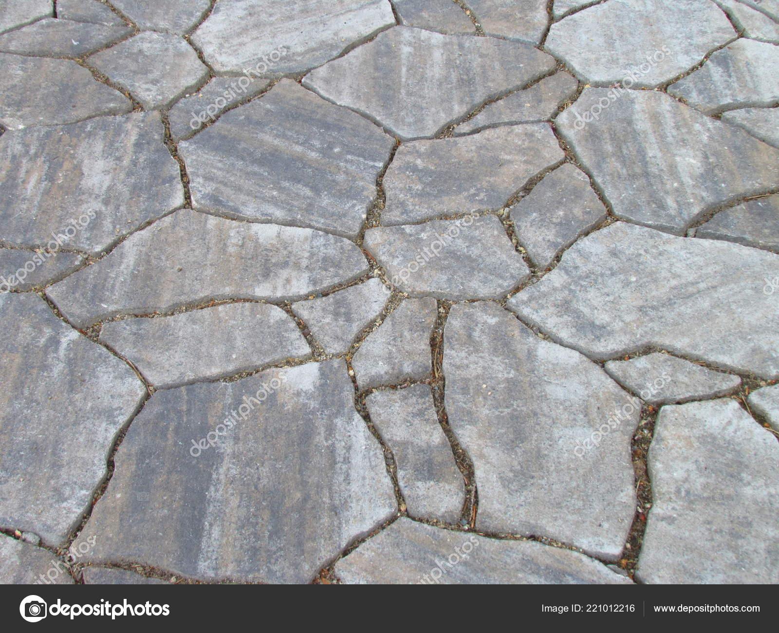Mozaiek Tegels Tuin.Textuur Grijze Natuurlijke Steen Tuin Bestrating Decoratieve