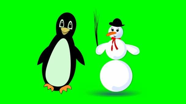 skákání, sněhulák a roztomilý tučňák chodící, dvě roztomilé kreslené postavičky na zelené obrazovce