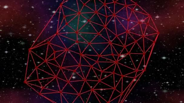 Red network rotating in cosmos on starry sky with nebula, Delaunay  triangulation, sci-fi footage, vfx animation
