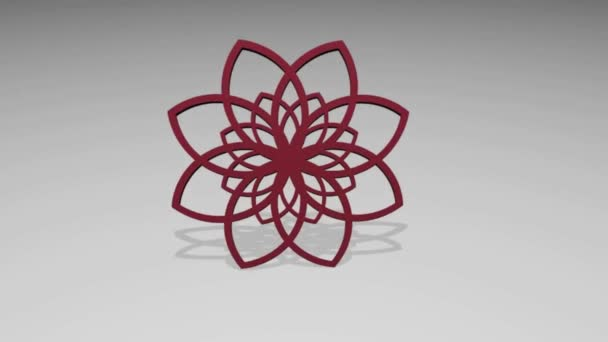Absztrakt kör 3D piros Rozetta világosszürke háttérrel, geometriai emblémát