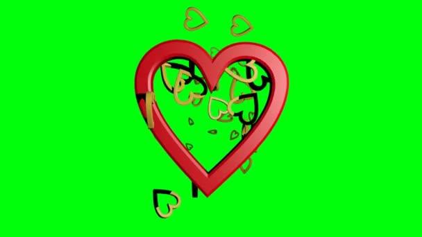 Rudé srdce s malými zlatými srdci, zlaté částice pohybující se kolem hlavního srdce, krásná svatba, manželství, Valentýna, den matek, a také narozeninový pozdrav.