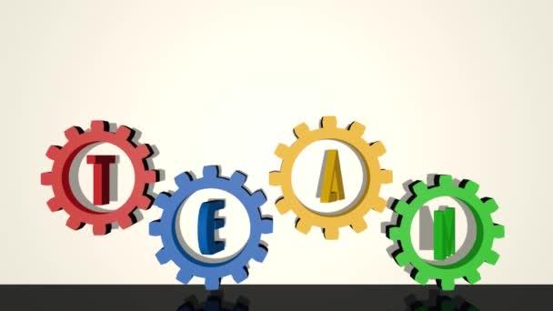 Tým, nápis v převodových ozubených, červený, modrý, žlutý, zelený prvek na bílém pozadí, zrcadlový obraz. Rotační převodovka, 3D vykreslení
