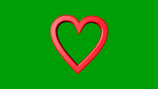 Červené srdce se zlatými sférou a zlatými sférčními částicemi pohybujícími se na zelené rohoži. Valentýna na den nebo na svatbu. Oznámení nočního klubu. vliv jakéhokoliv léku na srdce.