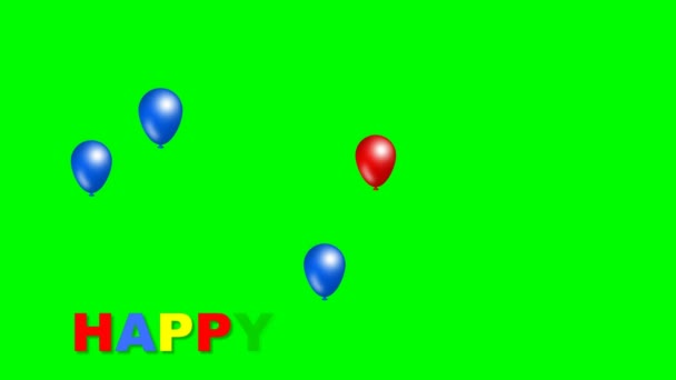 Happy birthday inscription with moving funny balls in blue, red and yellow color. Beautiful birthday movie on green matte. 4k resolution