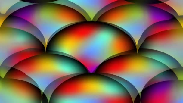 Psychedelické koule, skupina koulí v živých duhových barvách. Změna barvy efekt, fantasy disco pozadí, neonové barvy,