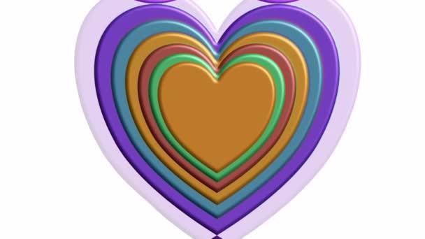 Krásná 3D srdce v elegantních nostalgických barvách, tunel pohyb na bílém pozadí. Animovaný abstraktní film, valentýnský symbol, svatební pozadí