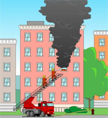 Firefighters with a fire truck extinguish a house. Firefighters stand on the stairs of a fire engine, extinguish a fire from a fire hose through a window. Smoke from the window of apartment building. icon
