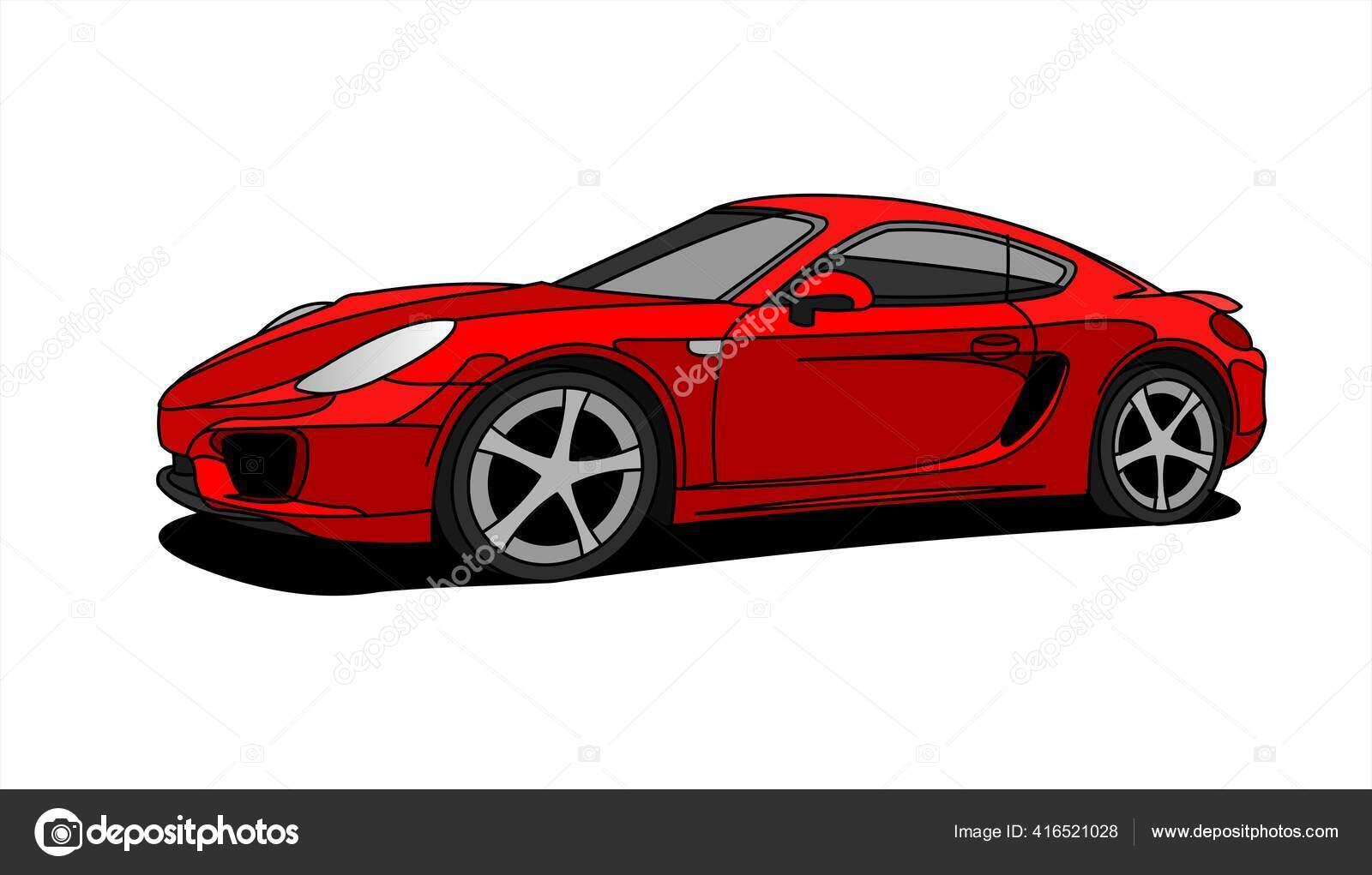 Mobil Merah Tampilan Samping Tampilan Tiga Perempat Mobil Balap Cepat Stok Vektor C Antonina85 416521028