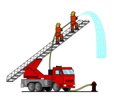 Cartoon fire truck with a car ladder. Firefighters stand on the stairs, watering something from a fire hose. Flat vector illustration of a water engine car for scrapbook, for textiles. icon
