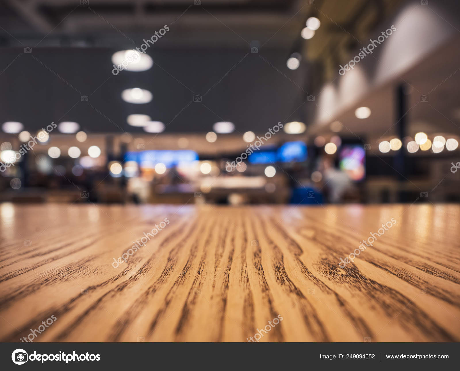 Table Top Counter Blur Lighting Bar Restaurant Shop Interior Background Stock Photo C Viteethumb 249094052
