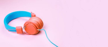 Coral and blue headphones
