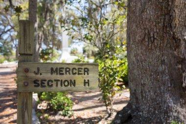 Johnny Mercer Gravesite Sign in Bonaventure Cemetery