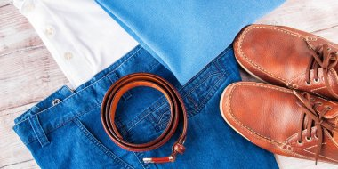 Mans clothes and leather accessories