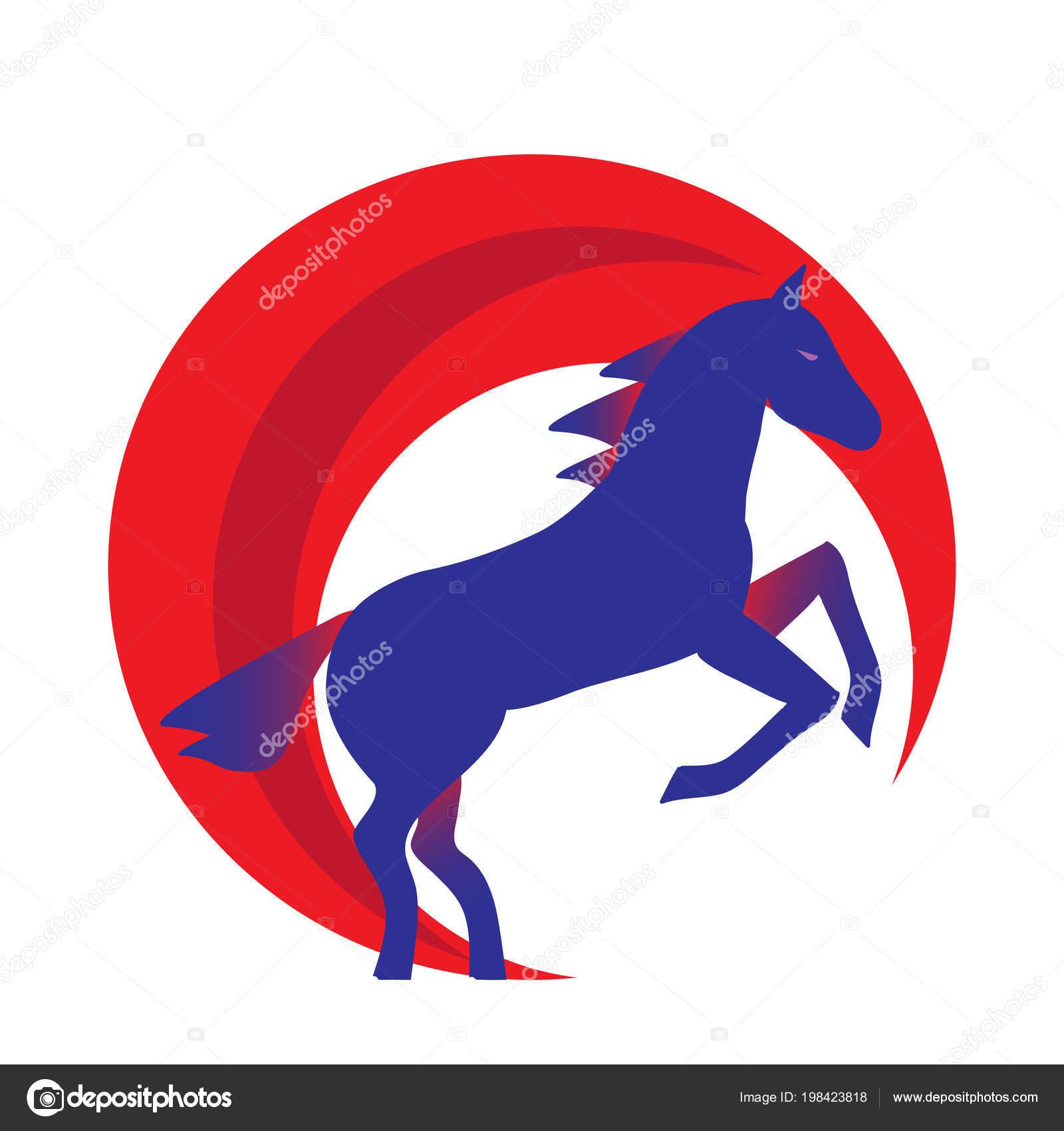 青い馬シルエット 後ろ足で立ち上がって実行しています 馬ロゴ Withwith