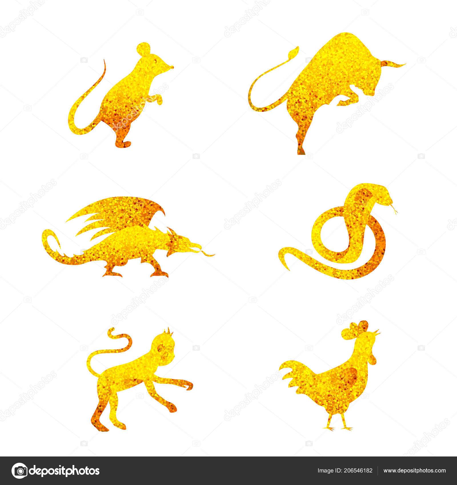 Six Golden Chinese Year Lunar Zodiac Horoscope Symbols Zodiac China