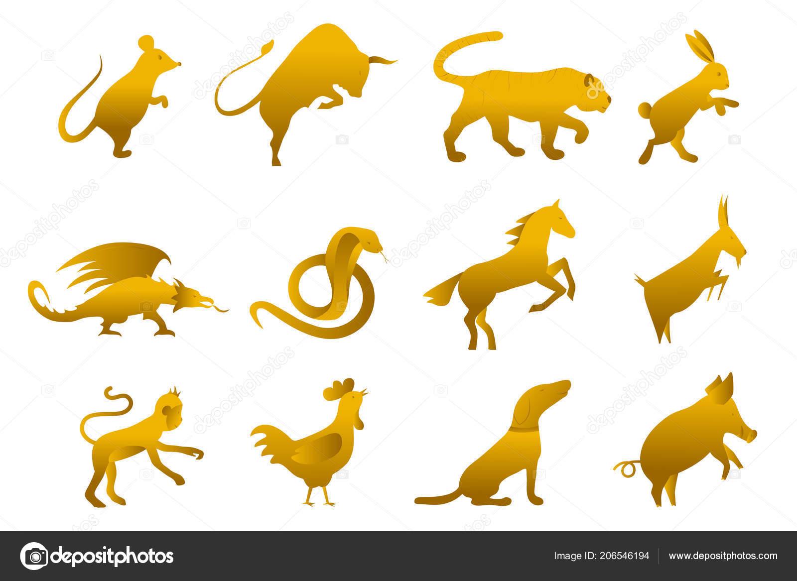 Twelve Golden Chinese Year Lunar Zodiac Horoscope Symbols Zodiac