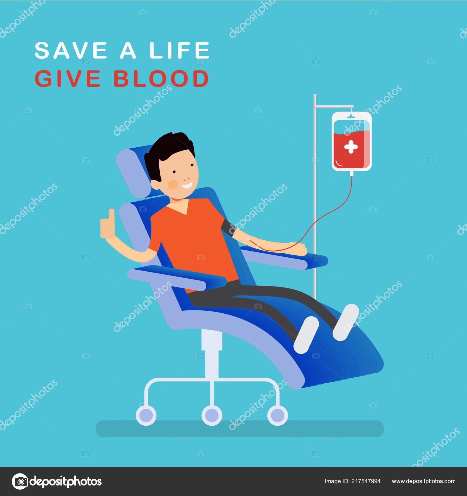 Charakter Blut Spender Mann Sitzt Auf Einem Stuhl Der Medizinischen