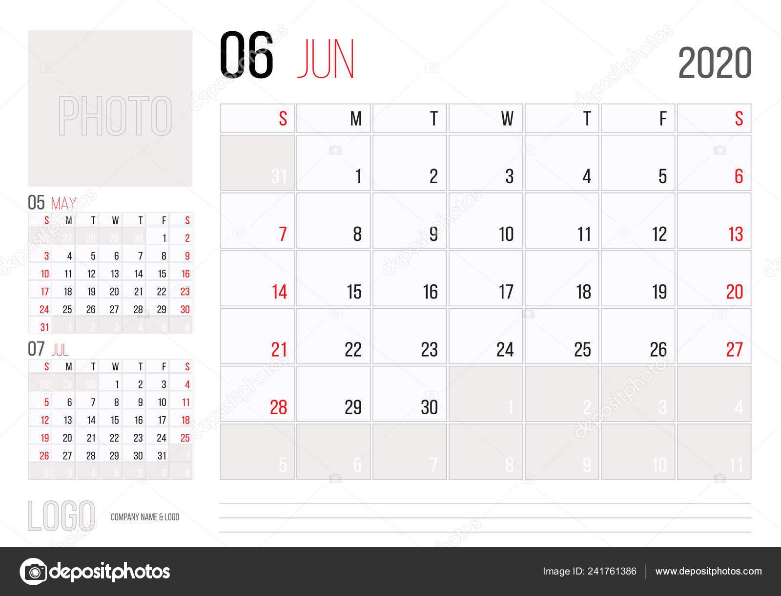 2020 Annual Calendar.Calendar 2020 Planner Corporate Template Design June Week Starts