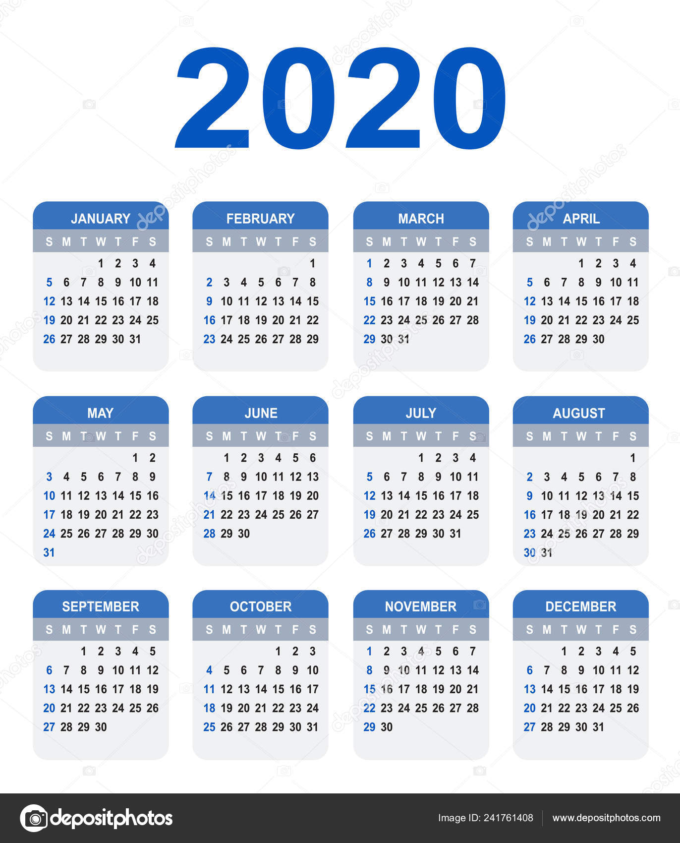 Semaines Calendrier 2020.Calendrier 2020 Semaine Commence Dimanche Couleur Base