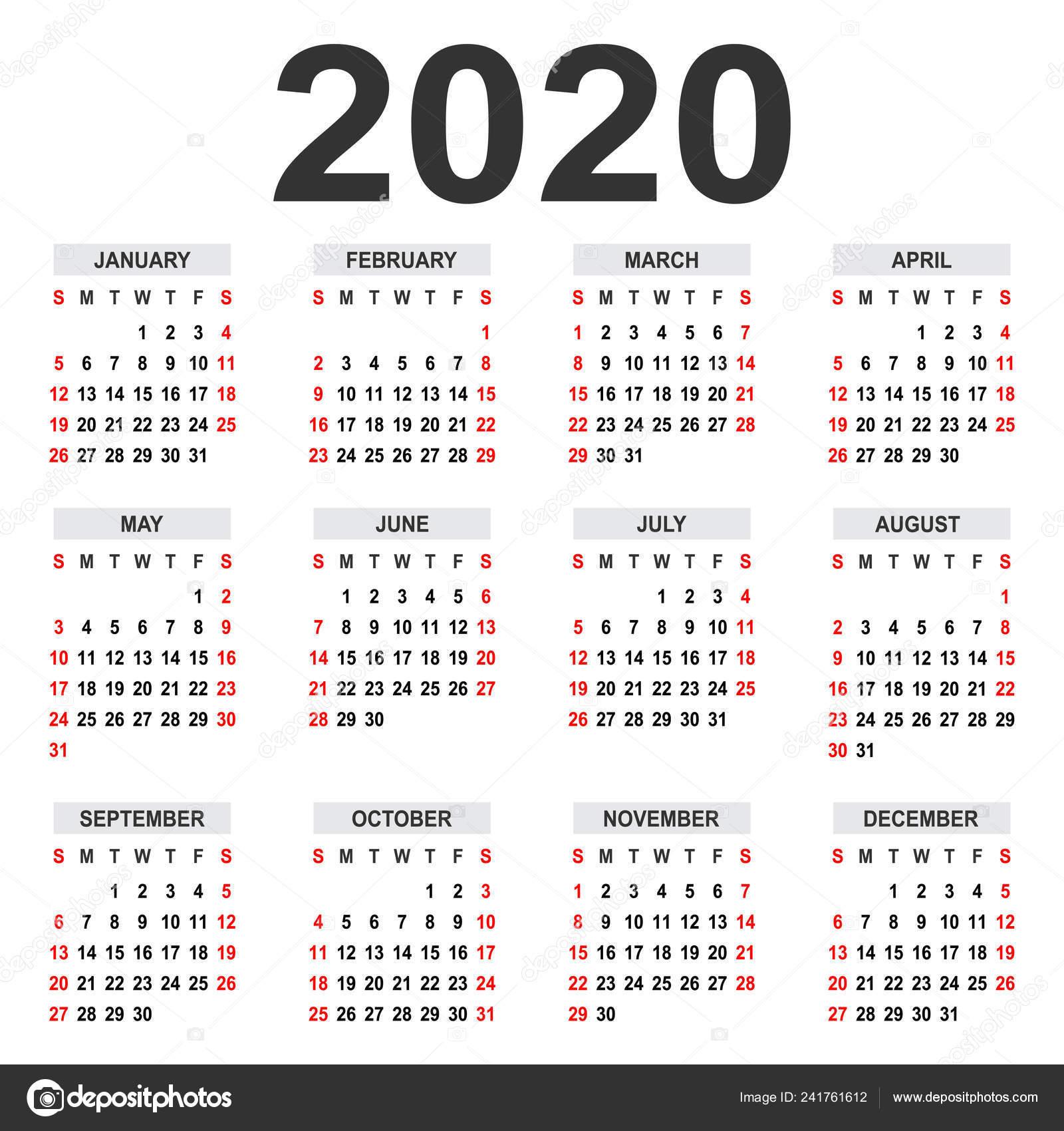 Calendario 2020 Semanas.Calendario 2020 Semana Comeca Domingo Grade Basica Modelo