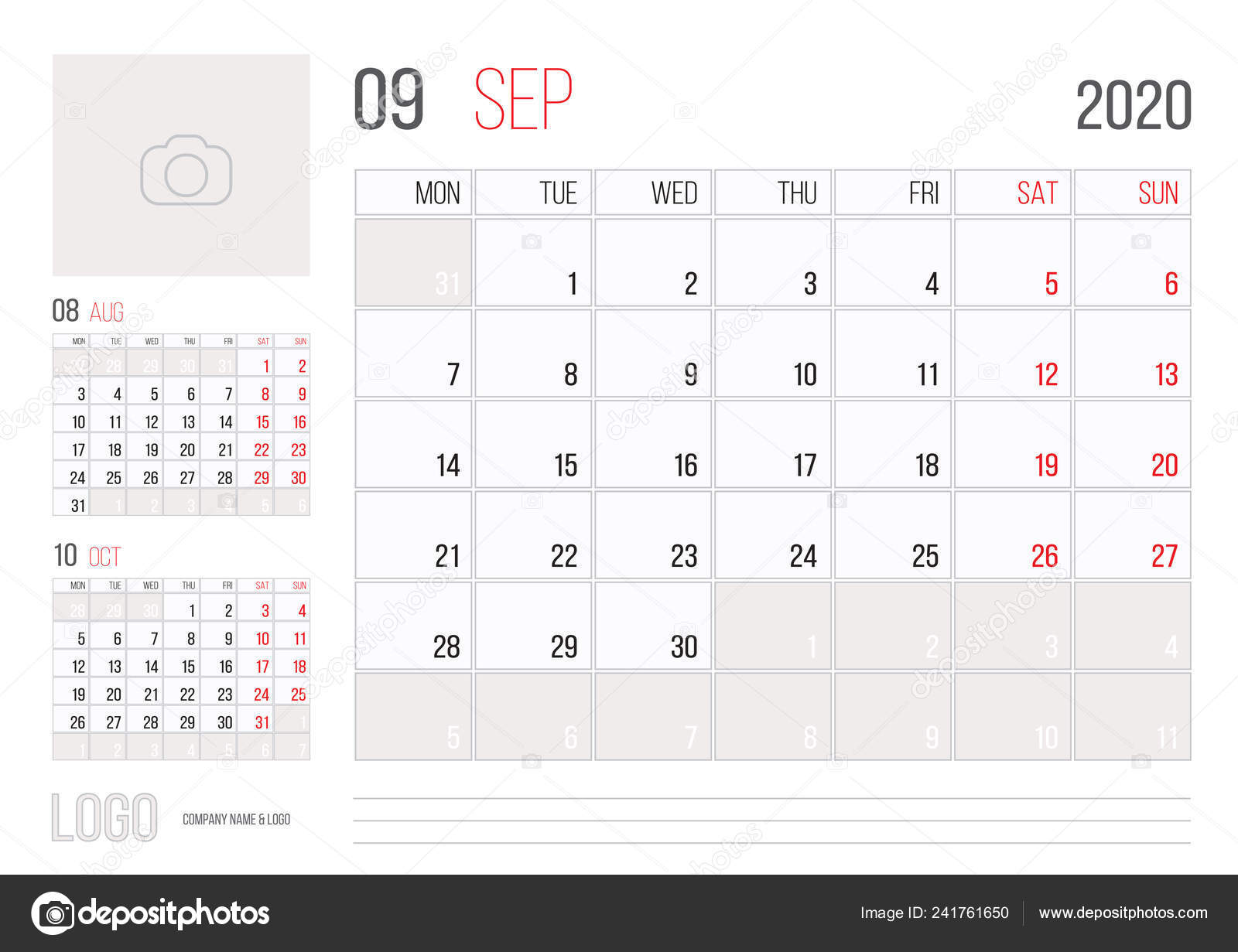 Calendario 2020 Planner.Calendar 2020 Planner Corporate Template Design September
