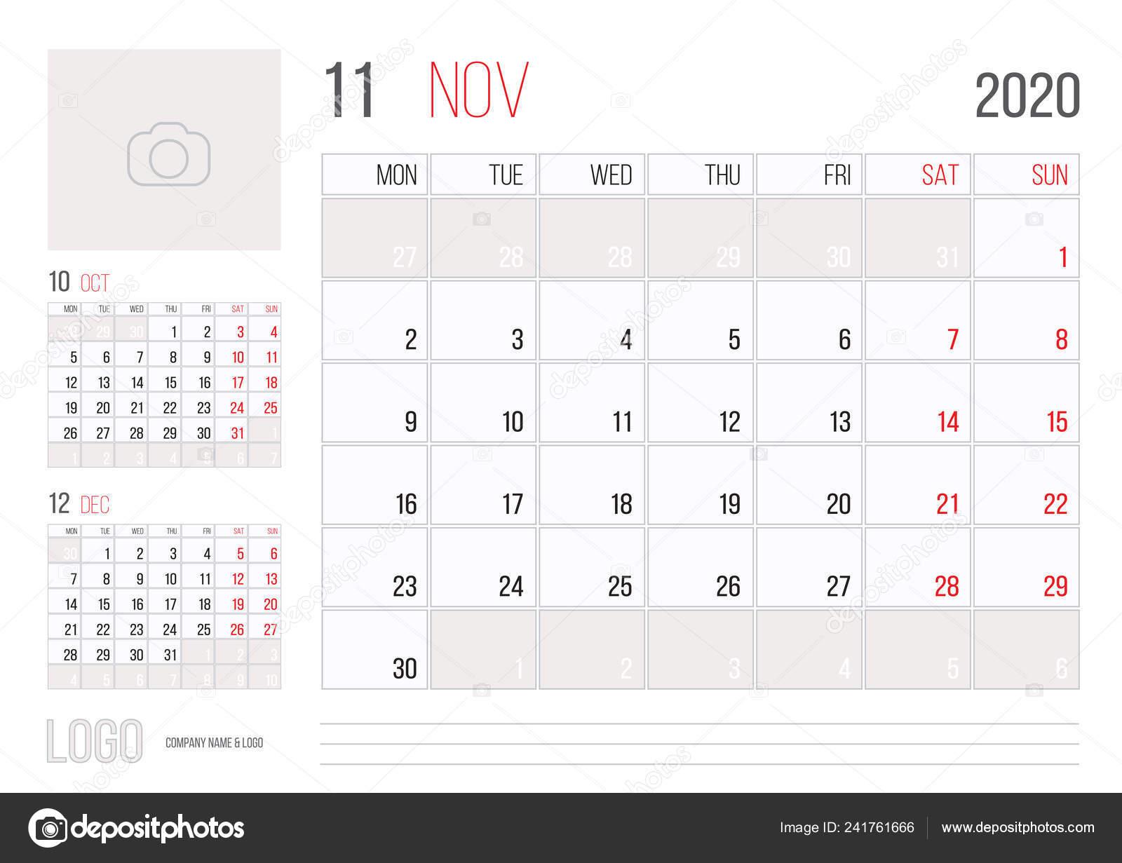 2020 Annual Calendar.Calendar 2020 Planner Corporate Template Design November Month Week