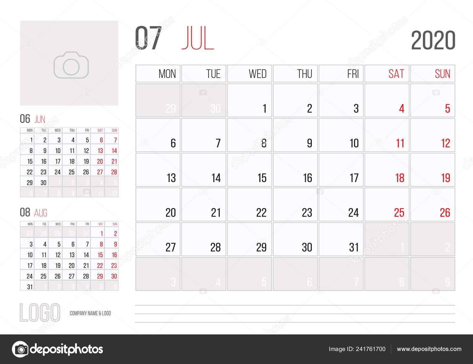 Calendario Mes De Julio.Diseno Plantilla Corporativa Planner 2020 Calendario Mes Julio