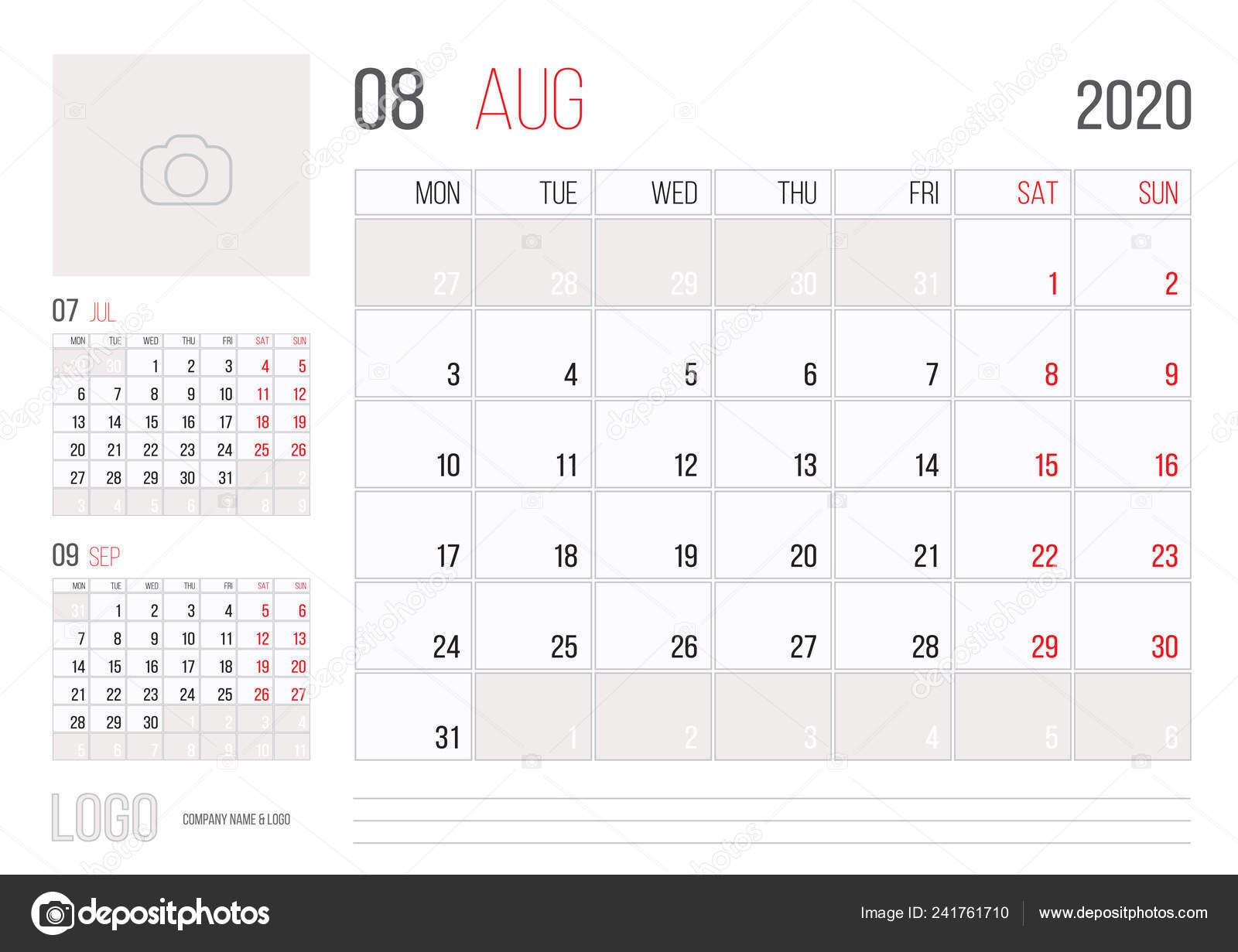 Calendario De Agosto 2020.Diseno Plantilla Corporativa Planner 2020 Calendario Mes Agosto