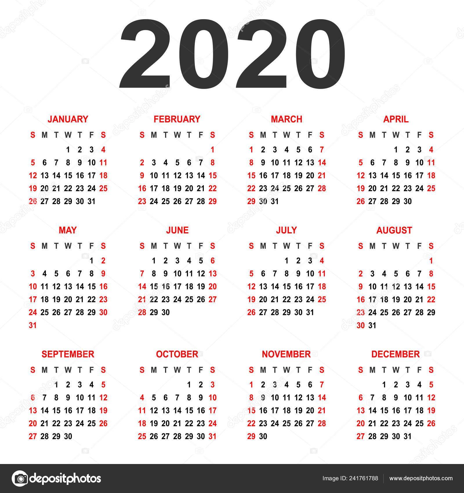 Calendario 2020 Brasil Com Feriados.Calendario 2020 Semana Comeca Domingo Grade Basica Modelo