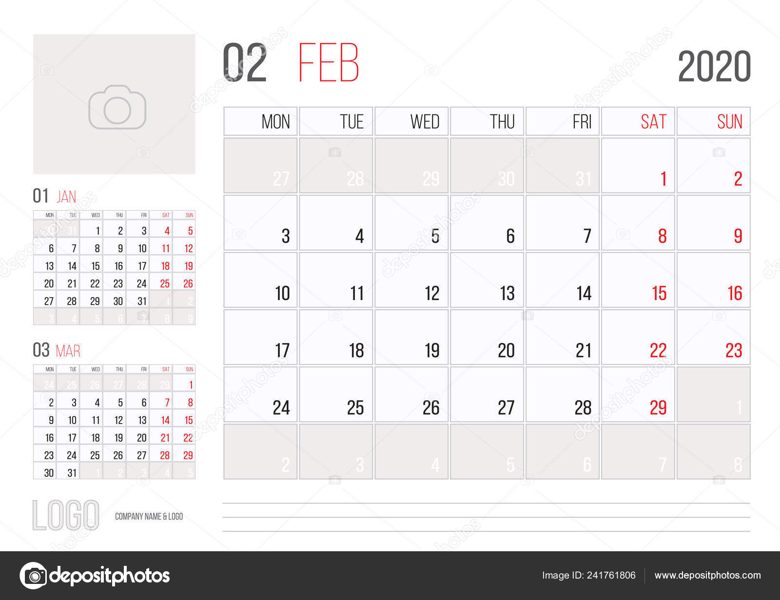 Febrero 2020 Calendario.Diseno Plantilla Corporativa Planner 2020 Calendario Mes Febrero