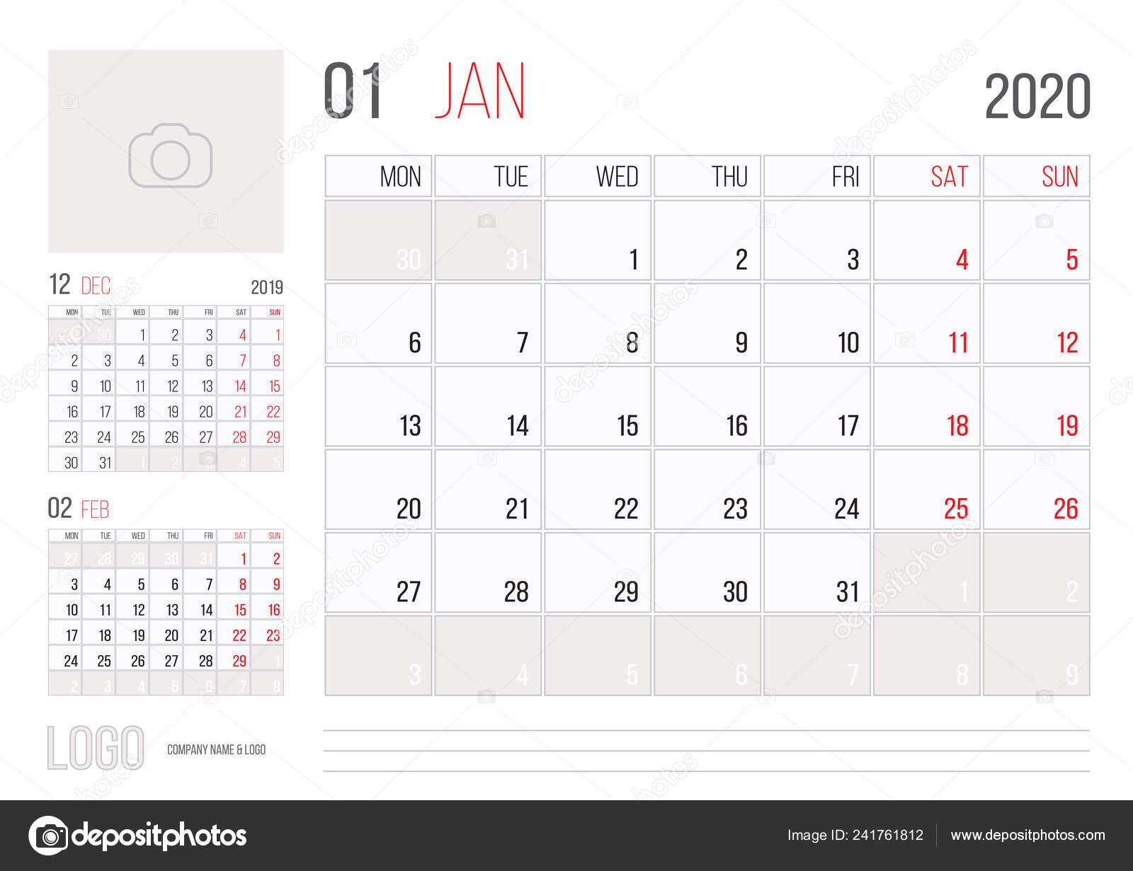 Calendario Mes De Enero 2020.Diseno Plantilla Corporativa Planner 2020 Calendario Mes