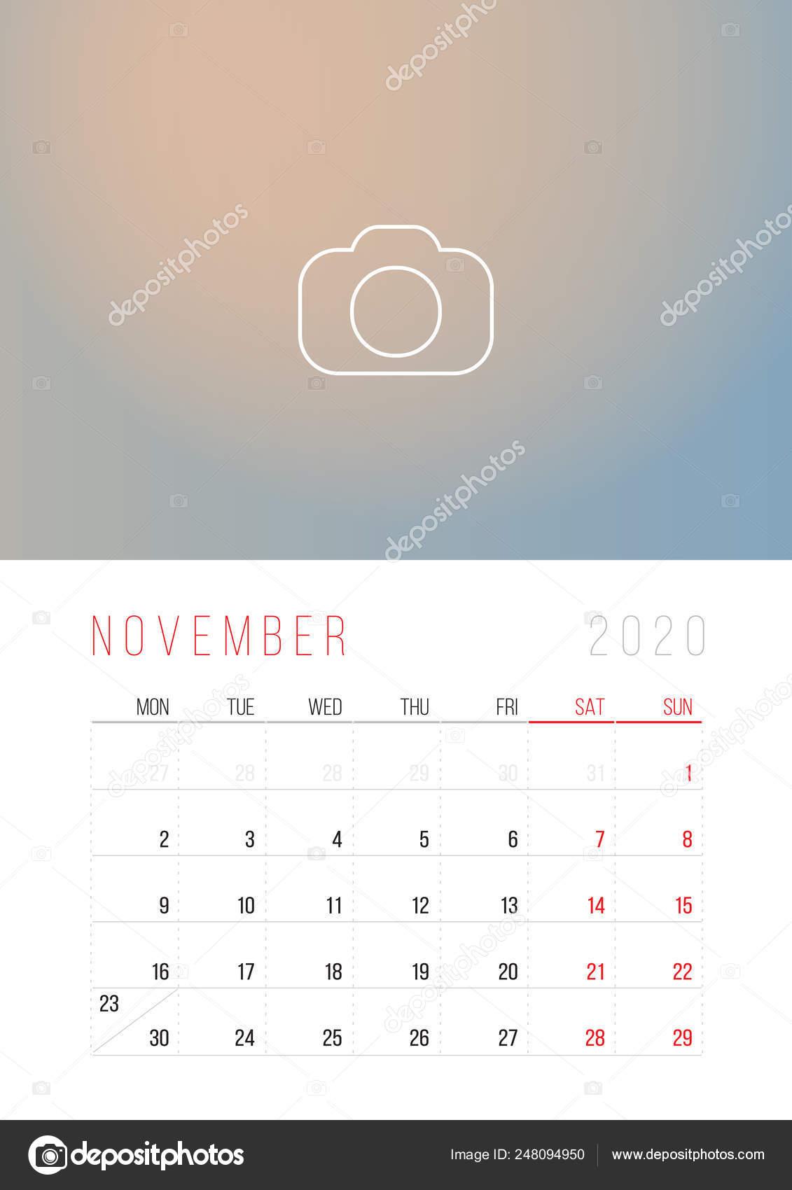 Settimane Calendario 2020.Calendario 2020 Inizio Di Settimana Il Lunedi Vettoriali